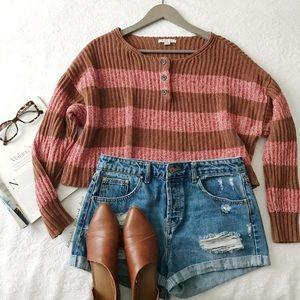 AEO Stripe + Cropped Sweater